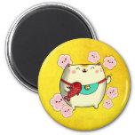 Cute Round Maneki Neko Cat Magnet