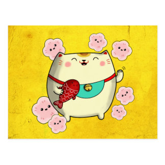 Cute Round Maneki Neko Cat Postcard