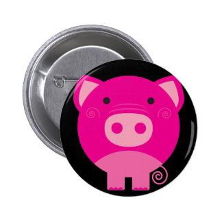 Cute Round Pig Cartoon Button