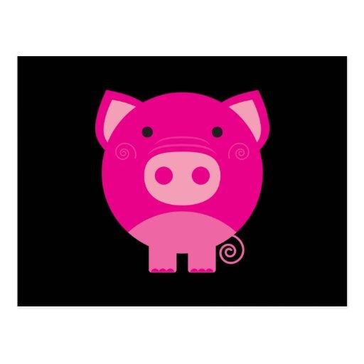 Cute Round Pig Cartoon Post Card