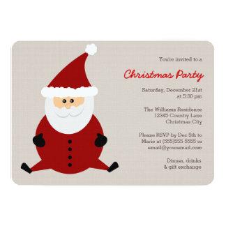 Cute Round Santa Claus Christmas Party Invitation