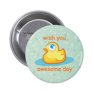 Cute rubber duck with bubbles button