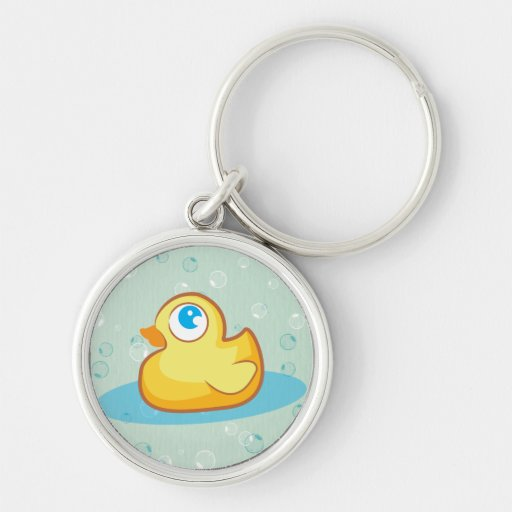Cute rubber duck with bubbles keychain