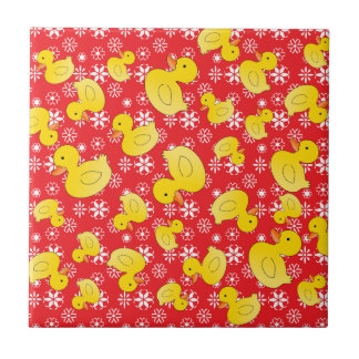 Cute rubber ducks christmas red snowflakes small square tile