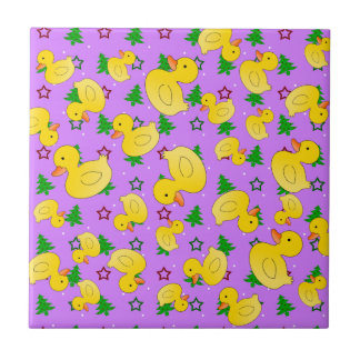 Cute rubber ducks pastel purple christmas trees small square tile