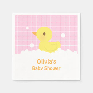 Cute Rubber Ducky Baby Shower Party Supplies Standard Cocktail Napkin