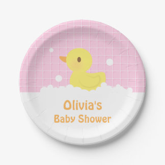 Cute Rubber Ducky Baby Shower Party Supplies 7 Inch Paper Plate