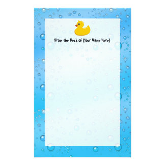 Cute Rubber Ducky/Blue Bubbles Customised Stationery