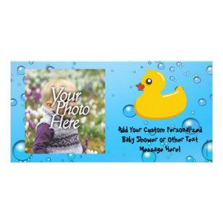 Cute Rubber Ducky/Blue Bubbles Picture Card