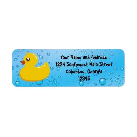 Cute Rubber Ducky/Blue Bubbles Return Address Label