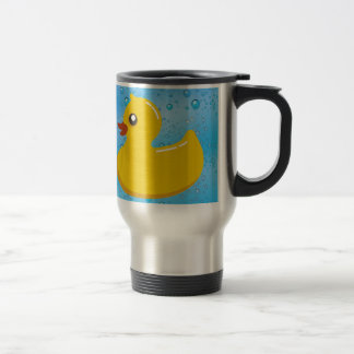 Cute Rubber Ducky/Blue Bubbles Stainless Steel Travel Mug