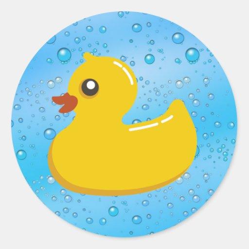 Cute Rubber Ducky/Blue Bubbles Round Sticker
