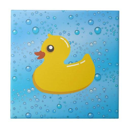 Cute Rubber Ducky/Blue Bubbles Tile