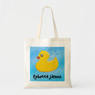 Cute Rubber Ducky/Blue Bubbles Tote Bag