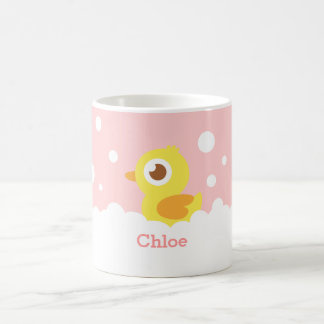 Cute Rubber Ducky in Bubble Bath for Girls Basic White Mug