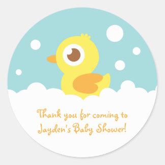 Cute Rubber Ducky in Bubble Bath Round Sticker