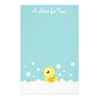 Cute Rubber Ducky in Bubble Bath Stationery