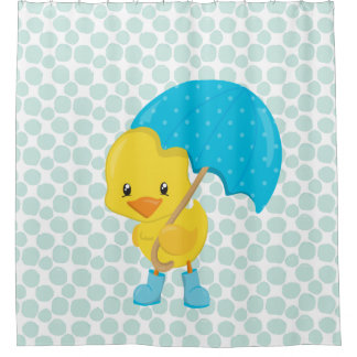 Cute Rubber Ducky on Blue Dots Shower Curtain