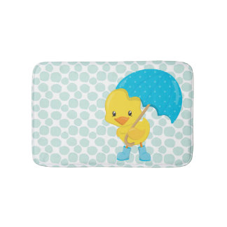 Cute Rubber Ducky on Blue Polka Dots Bath Mat