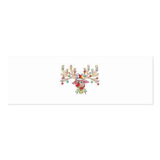 Cute Rudolf Reindeer with Christmas Lights Buttons Business Card