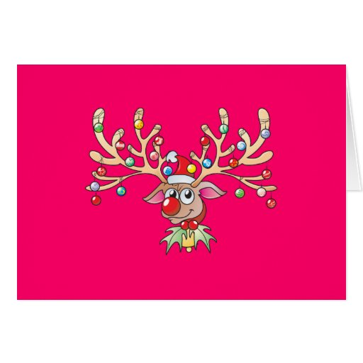 Cute Rudolf Reindeer with Christmas Lights Cards