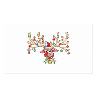 Cute Rudolf Reindeer with Christmas Lights Cards Business Card Templates