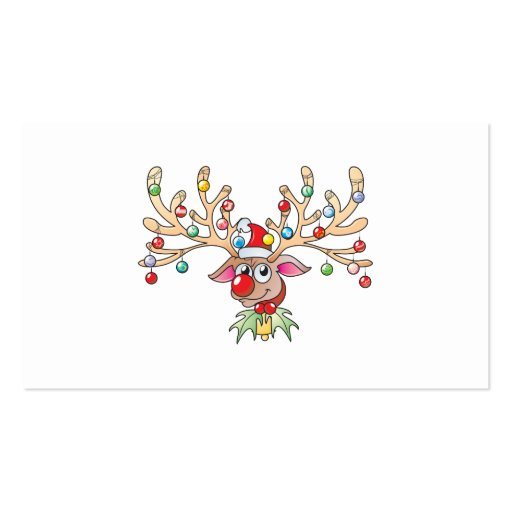 Cute Rudolf Reindeer with Christmas Lights Cards Business Card Template