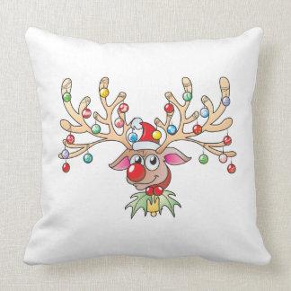 Cute Rudolf Reindeer with Christmas Lights Cards Pillow