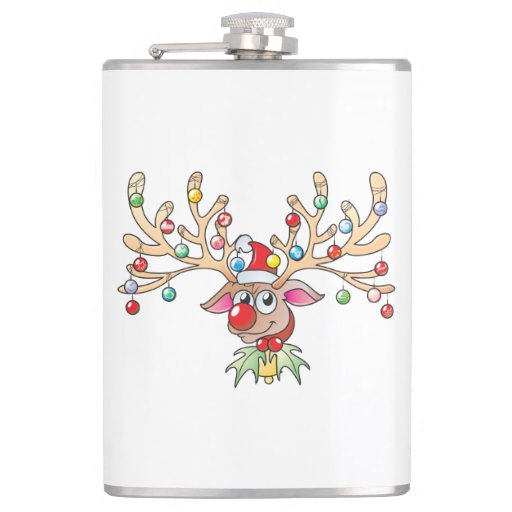 Cute Rudolf Reindeer with Christmas Lights Cards Hip Flask