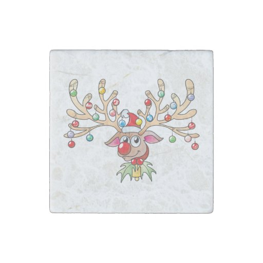 Cute Rudolf Reindeer with Christmas Lights Cards Stone Magnet