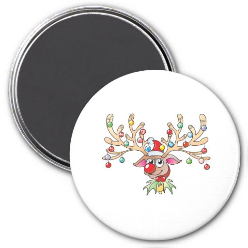 Cute Rudolf Reindeer with Christmas Lights Cards Refrigerator Magnet