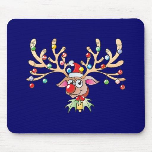 Cute Rudolf Reindeer with Christmas Lights Cards Mousepads