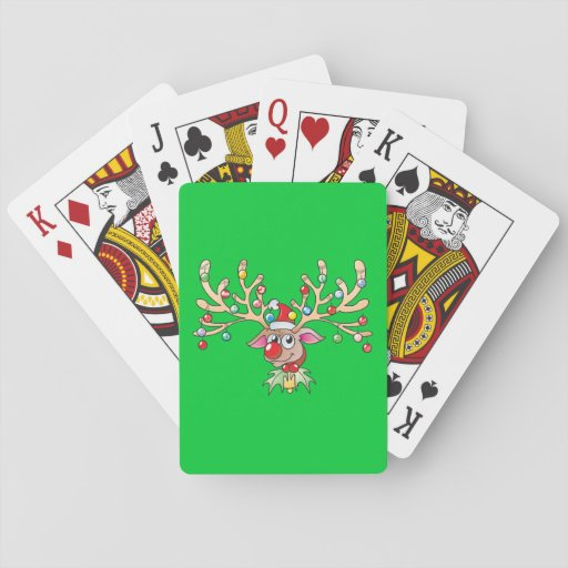 Cute Rudolf Reindeer with Christmas Lights Cards Playing Cards
