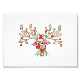 Cute Rudolf Reindeer with Christmas Lights Cards Photo Print
