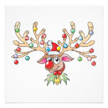 Cute Rudolf Reindeer with Christmas Lights Cards Photo Print