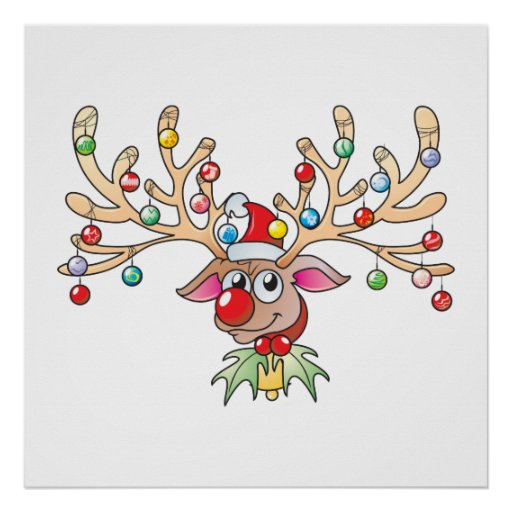 Cute Rudolf Reindeer with Christmas Lights Cards Posters