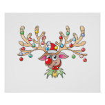Cute Rudolf Reindeer with Christmas Lights Cards Poster