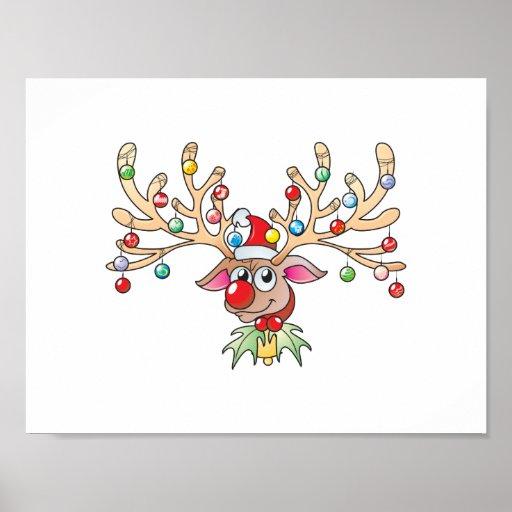 Cute Rudolf Reindeer with Christmas Lights Cards Print