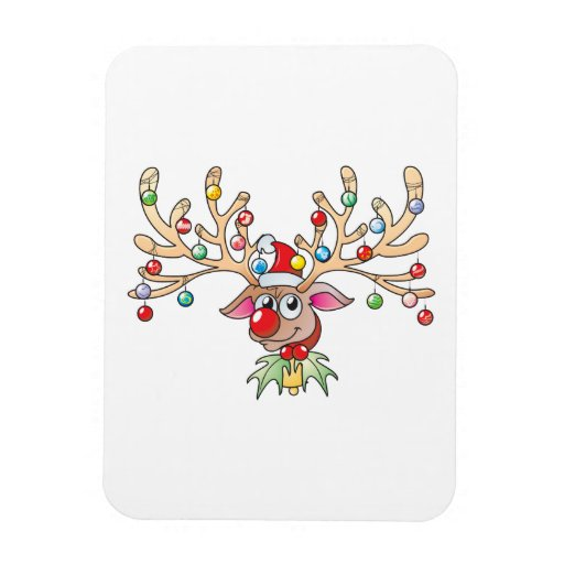 Cute Rudolf Reindeer with Christmas Lights Cards Magnets