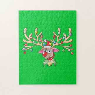 Cute Rudolf Reindeer with Christmas Lights Cards Puzzle