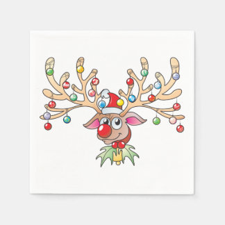 Cute Rudolf Reindeer with Christmas Lights Cards Paper Napkins