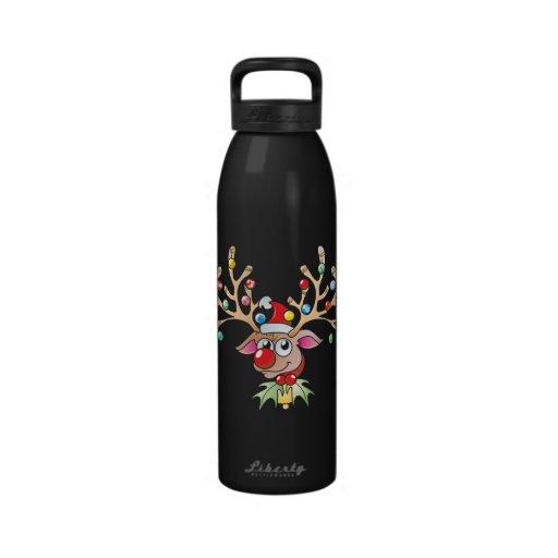 Cute Rudolf Reindeer with Christmas Lights Cards Reusable Water Bottles