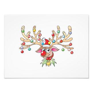 Cute Rudolf Reindeer with Christmas Lights Invites Photo Art