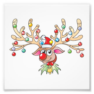 Cute Rudolf Reindeer with Christmas Lights Invites Photograph