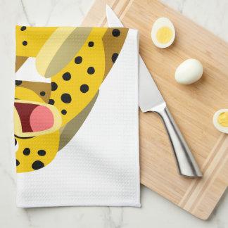 Cute Running Cartoon Cheetah Tea Towel