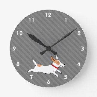 Cute Running Jack Russell Terrier Cartoon Dog Round Clock