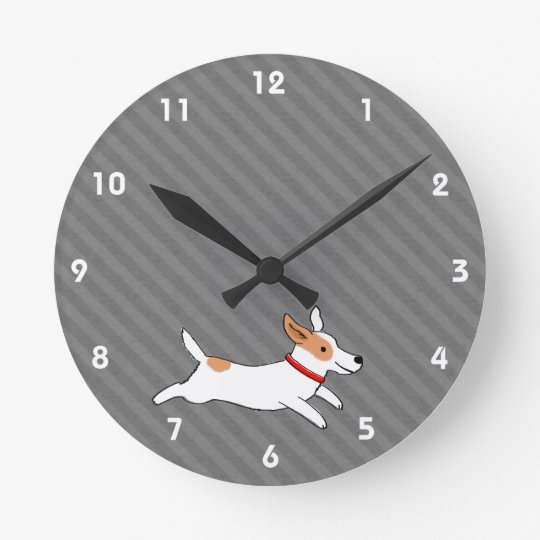 Cute Running Jack Russell Terrier Cartoon Dog Round