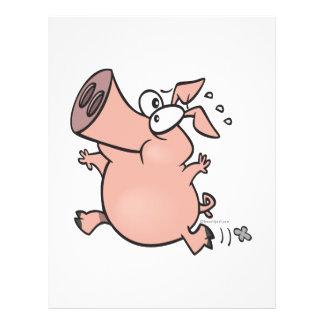 cute running pig cartoon character 21.5 cm x 28 cm flyer