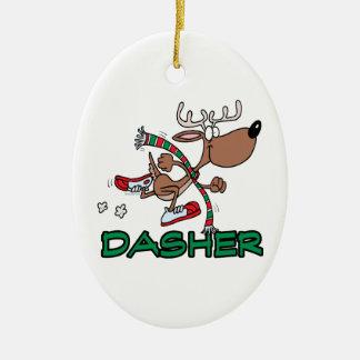 cute running reindeer DASHER cartoon Christmas Ornament