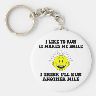 Cute running saying basic round button key ring